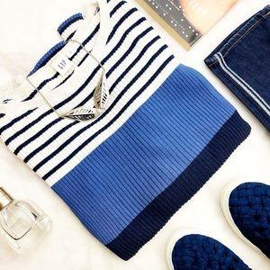 Gap Blue Colorblock Ribbed Slim Fit Sweater